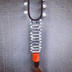 neclace fancy b&w with orange coral