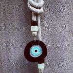 Lucky Charm 21 – Silver Cord & Evil Eye. Γούρι σπιτιού με Ασημί ορειβατικό κορδόνι και Evil Eye.