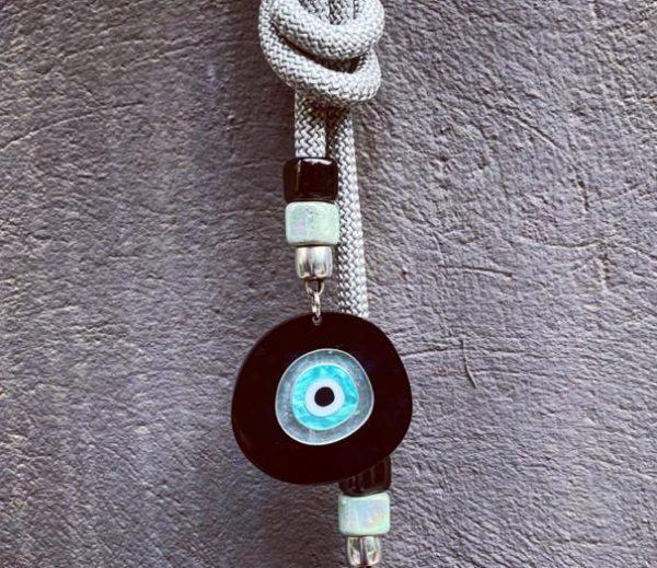 Lucky Charm 21 - Silver Cord & Evil Eye. Γούρι σπιτιού με Ασημί ορειβατικό κορδόνι και Evil Eye.