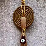 Lucky Charm 21 – Bronze Spiral & Evil Eye. Γούρι σπιτιού με bronze σπείρα & κορδόνι και evil μάτι 2