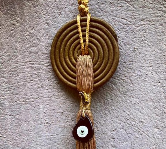 Lucky Charm 21 - Bronze Spiral & Evil Eye. Γούρι σπιτιού με bronze σπείρα & κορδόνι και evil μάτι 2
