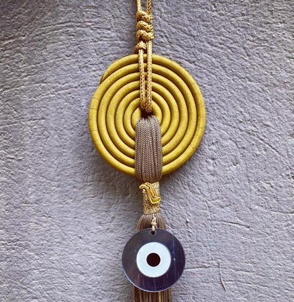 Lucky Charm 21 - Yellow Spiral & Evil Eye. Γούρι σπιτιού με κίτρινη σπείρα & bronze κορδόνι και evil μάτι 2