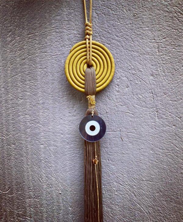 Lucky Charm 21 - Yellow Spiral & Evil Eye