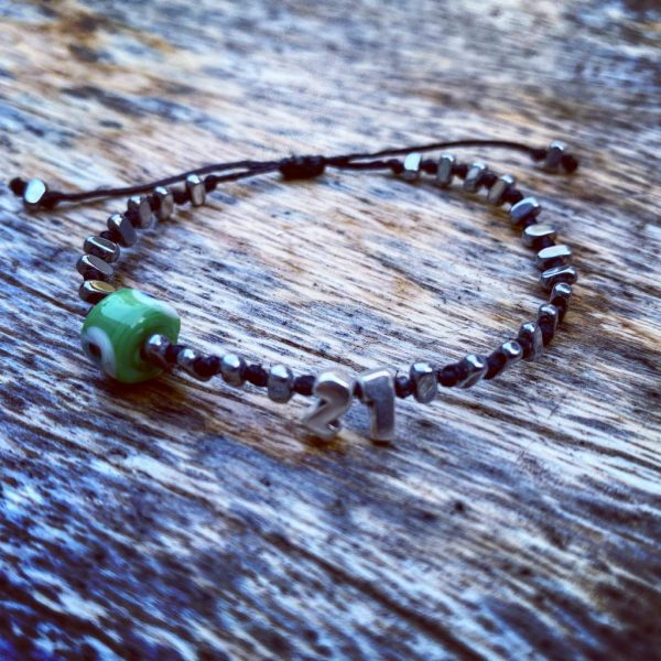 Lucky Charm 21 - Bracelet Silver Green Evil Eye