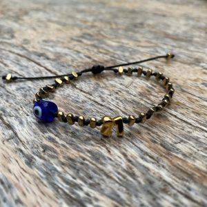 Lucky Charm 21 - Bracelet Gold BLUE Evil Eye