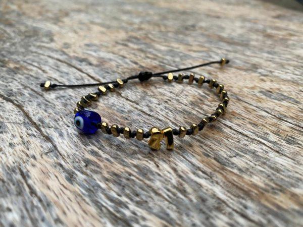 Lucky Charm 21 - Bracelet Gold BLUE Evil Eye