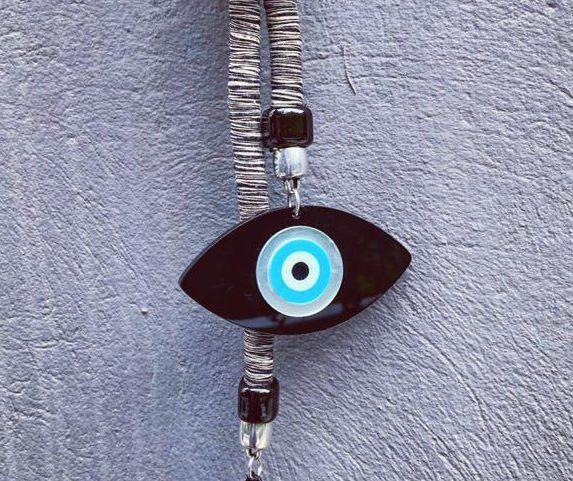 Lucky Charm 21 - Brown Cord & Evil Eye. Γούρι σπιτιού με μπέζ ορειβατικό κορδόνι και μάτι από πλέξιγκλας.2