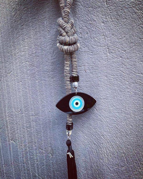 Lucky Charm 21 - Brown Cord & Evil Eye. Γούρι σπιτιού με μπέζ ορειβατικό κορδόνι και μάτι από πλέξιγκλας.
