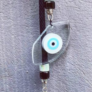 Lucky Charm 21 - Black Cord & Evil Eye. Γούρι σπιτιού με μαύρο ορειβατικό κορδόνι και μάτι απο πλέξιγκλας.