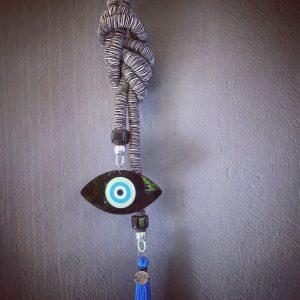 Lucky Charm 21 - Black & white Cord & Evil Eye. Γούρι σπιτιού με ασπρόμαυρο κορδόνι και Evil Eye.