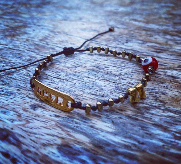 Lucky Charm 21 - Bracelet Amor Gold Hematite & Red Evil Eye