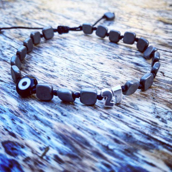 Lucky Charm 21 - Bracelet Black Hematite Evil Eye. Γούρι βραχιόλι με μαύρο Αιματίτη και Evil Eye.