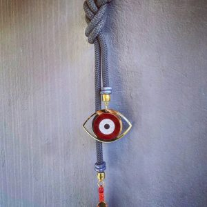 Lucky Charm 21 - Black & white Cord & Evil Eye. Γούρι σπιτιού με γκρι κορδόνι και Evil Eye.